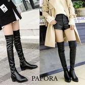 粗跟顯瘦百搭女膝上靴長靴【KN7146】黑PAPORA