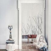 植物布藝門簾隔斷半簾子裝飾布簾掛簾屏風水臥室家用客廳玄關WY