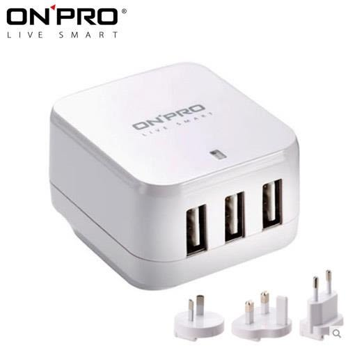 ONPRO UC-3P01W 3孔USB萬國急速充電器(5V/4.8A)白色