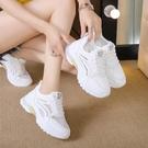 2021新款小白鞋子女透氣夏季內增高百搭休閒網面旅游運動網鞋厚底  【端午節特惠】
