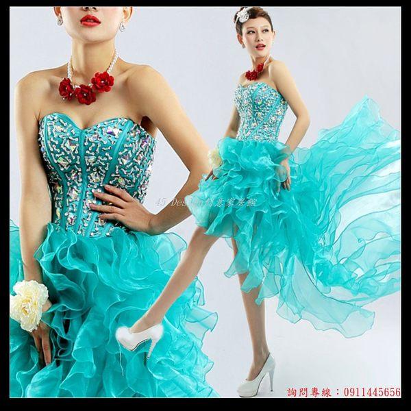 (45 Design) 訂做款式7天到貨 粉色藍綠色前短後長鑽石抹胸綁帶拖尾婚紗禮服短款新娘小禮服