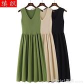 無袖洋裝 2020流行裙子女早秋新款牛油果綠針織洋裝打底背心長裙 中秋節好禮