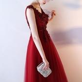 晚礼服2017新款时尚红色结婚敬酒服新娘长款宴会主持人连衣裙大码(主圖款)