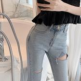 韓版複古個性破洞收腰顯瘦小腳褲水洗百搭高腰牛仔九分褲女鉛筆褲