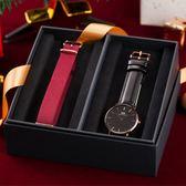 DW 禮盒 聖誕節氣氛 40mm 簡約黑色玫瑰金腕錶+紅色尼龍錶帶 DW00100127COMBO 熱賣中!