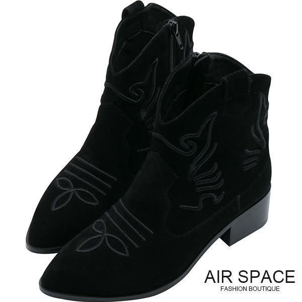 中筒靴 刺繡麂皮尖頭低跟中筒靴(黑)-AIR SPACE