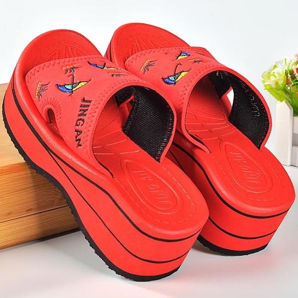 厚底拖鞋 夏季涼拖鞋女厚底高跟坡跟防滑居家室內外穿泡沫底浴室沙灘拖鞋秋