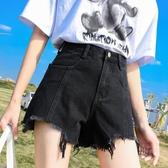 黑色牛仔短褲女高腰a字2020新款夏季網紅寬鬆闊腿不規則毛邊熱褲