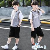 兒童套裝時尚夏季韓版男孩短袖籃球衣【奇趣小屋】
