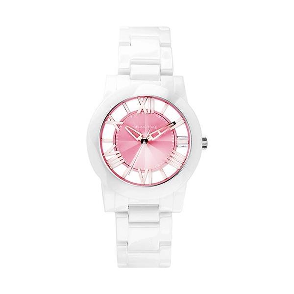 【Relax Time】Diamond羅馬鏤空時尚陶瓷腕錶-蜜桃粉/RT-53-8/台灣總代理公司貨享一年保固