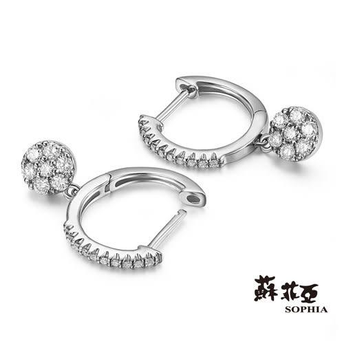 蘇菲亞SOPHIA - 跳躍圈圈造型14K金鑽石耳環