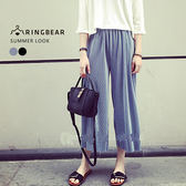 寬褲--高雅氣質百褶壓紋舒適鬆緊帶時尚七分寬口褲(黑.灰XL-3L)-S92眼圈熊中大尺碼