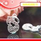 銀鏡DIY S925純銀DIY材料配件/簍空刻花古錢幣滿袋招財小葫蘆~適合手作蠶絲蠟線/幸運衝浪繩