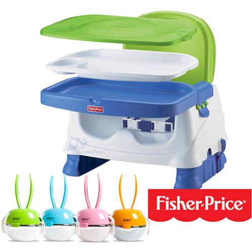 【奇買親子購物網】英國 貝氏BERZ 彩虹兔寶寶五合一組合餐具+費雪寶寶小餐椅