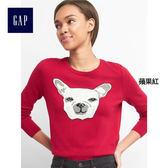 Gap女裝 柔軟舒適鬥牛犬圖案圓領長袖針織衫 261364-蘋果紅