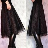 蕾絲裙(長裙)-純色半身三層蓬蓬女裙子73x7【巴黎精品】