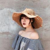 帽子女夏小清新鉤針草帽韓版百搭可折疊遮陽帽海邊度假沙灘太陽帽『櫻花小屋』