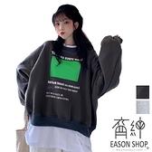 EASON SHOP(GW8291)實拍假兩件不規則割破洞方格字母印花落肩長袖素色棉T恤裙女大尺碼寬版OVERSIZE