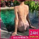 【現貨】梨卡-連身泳衣連身泳裝粉色【有胸墊+性感後鏤空】露背比基尼三角連身泳衣CR620