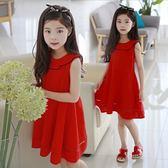 女童夏款紅色背心裙中大童無袖娃娃領公