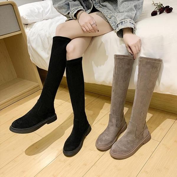 靴子女2021秋款長筒靴春秋單靴不過膝靴子一腳蹬高筒彈力瘦瘦靴潮3C數位百貨