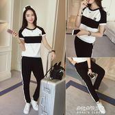 韓版寬鬆休閒套女運動衣服初中學生短袖九分褲兩件套潮  朵拉朵衣櫥