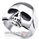《 QBOX 》FASHION 飾品【R10023192】精緻龐克風素面骷顱頭鑄造鈦鋼戒指/戒環(銀)