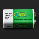 鎳氫 充電電池 300mAh 9V 電壓 BTY商標 HR1006 (19-401)