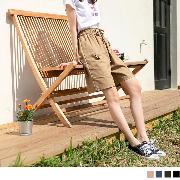 《BA4168-》鬆緊綁帶造型口袋設計純色棉麻五分褲 OB嚴選