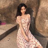 YOYO 草莓刺繡洋裝連身裙 裹胸氣質修身中長款連身裙E1049