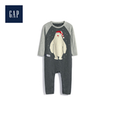 Gap男嬰兒妙趣圖案針織一件式包屁衣513644-深石楠灰