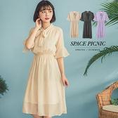 洋裝 Space Picnic|現+預.領口綁帶復古點點腰部鬆緊長洋裝【C18044033】