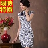 旗袍-真絲中國風青花瓷改良式復古連身短裙68p25【時尚巴黎】