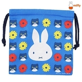 【SAS】日本限定 miffy 米菲兔 cat小花版 束口袋 / 收納袋