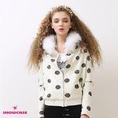 【SHOWCASE】毛絨連帽點點飛鼠袖造型針織外套(卡色)