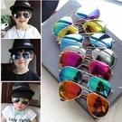 [協貿國際]新兒童鏡墨鏡男童童蛤蟆鏡防紫外線小孩金屬眼鏡1入