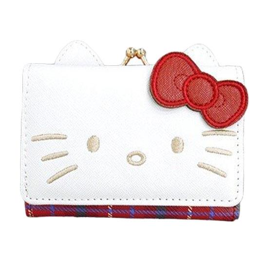 〔小禮堂〕Hello Kitty 造型耳朵皮質口金短夾《紅白.大臉》零錢包.皮夾.皮包 4547274-00861