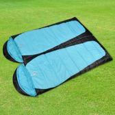 【APC】秋冬加長加寬可拼接全開式睡袋(雙層七孔棉)-藍黑色(2入組)