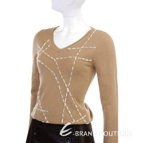 BVM 駝色白車線圖紋針織長袖上衣 0510909-02