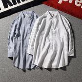 七分袖襯衫男士夏季新款正韓復古修身短袖條紋日系休閒五分袖襯衣 尾牙交換禮物