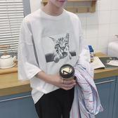 短袖t恤男韓版潮流學生寬鬆bf港風上衣七分袖 艾尚旗艦店