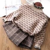 2020秋冬新款女童毛衣洋氣兒童套頭加絨加厚高領中大童針織打底衫 蘿莉小腳丫