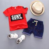 套裝  圓領 字母塗鴉 美國街頭 男童短袖上衣+短褲 單款 寶貝童衣