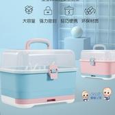 奶瓶收納盒 兒童奶瓶收納箱 加大號便攜式寶寶餐具水杯儲存盒防塵晾乾瀝水架 2色 雙12提前購