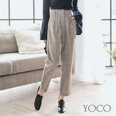 東京著衣【YOCO】時髦定番荷葉腰頭格紋老爺褲-S.M.L(172495)