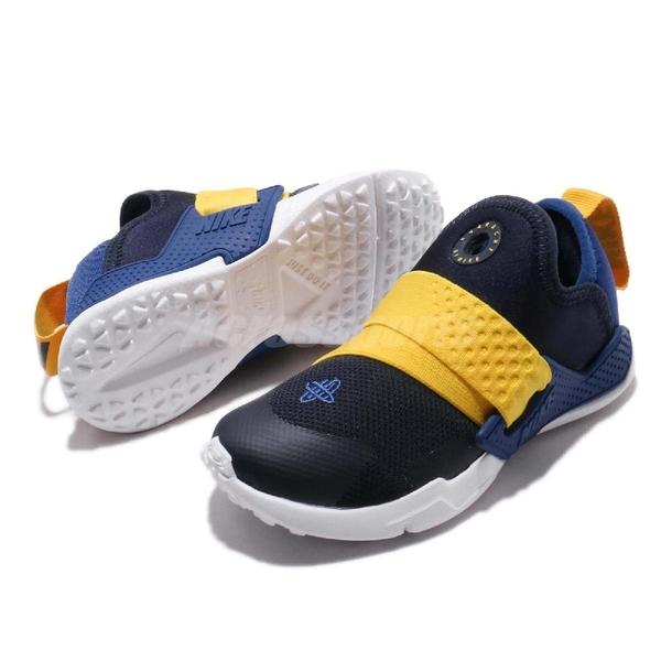 Nike 休閒鞋 Huarache Extreme TD 藍 黃 綁帶設計 低筒 童鞋 小童鞋 武士鞋【ACS】 AH7827-404