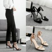 高跟鞋 涼鞋女夏新款韓版簡約露趾細跟高跟鞋鉚釘中空性感一字扣貓跟