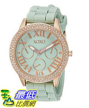 [美國直購] 女錶 XOXO Women s XO8089 Gold-Tone Stainless Steel Watch with Mint Green Silicone Band