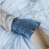 女夏2018新款褲腳開叉牛仔短褲寬鬆 藍色闊腿褲 艾尚旗艦店