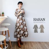 【HC5001】高腰V領花朵圖騰雪紡洋裝